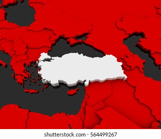 turkey map 3D illustration