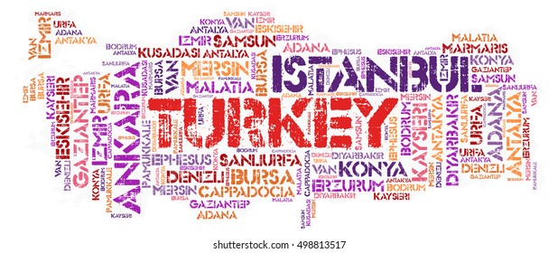 Turkey map silhouette word cloud with most popular travel destinations