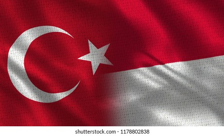 Turkey and Monaco - Two Flag Together - Fabric Texture