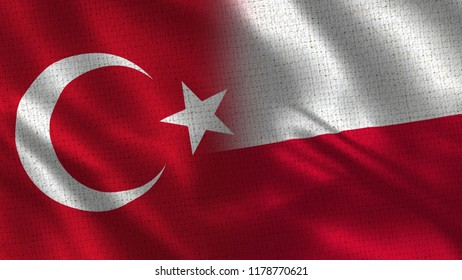 Turkey and Poland - Two Flag Together - Fabric Texture