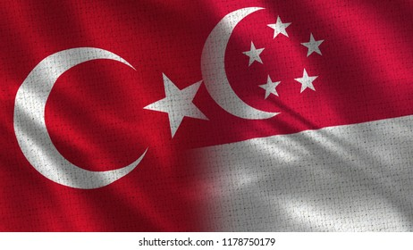 Turkey and Singapore - Two Flag Together - Fabric Texture