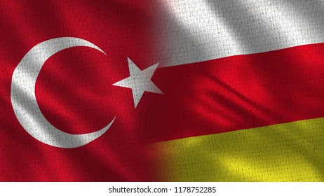 Turkey and South Ossetia - Two Flag Together - Fabric Texture
