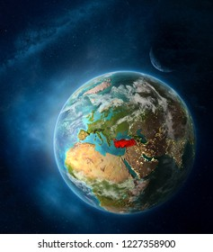 Turkey from space on Earth surrounded by space with Moon and Milky Way. Detailed planet surface with city lights and clouds. 3D illustration. Elements of this image furnished by NASA.