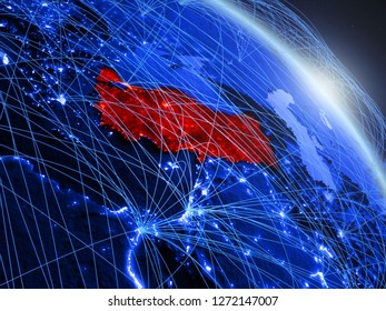 Turkey from space on model of blue digital planet Earth. Concept of blue digital technology, connectivity and travel. 3D illustration. Elements of this image furnished by NASA.