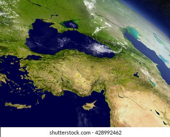 Turkey with surrounding region as seen from Earth's orbit in space. 3D illustration with highly detailed planet surface and clouds in the atmosphere. Elements of this image furnished by NASA.
