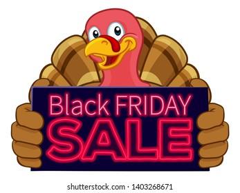 Turkey Thanksgiving or Christmas bird animal cartoon character holding a Black Friday sale sign