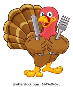 Turkey Thanksgiving or Christmas bird animal cartoon character holding a knife and fork