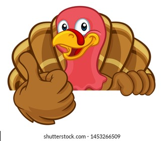 Turkey Thanksgiving or Christmas bird animal cartoon character peeking over a background sign giving a thumbs up