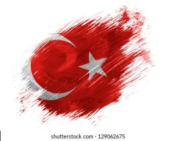 Turkey. Turkish flag  painted with brush on white background