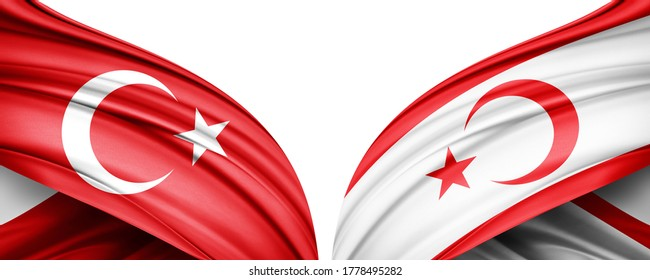 Turkey and Turkish Republic of Northern Cyprus flag of silk with copyspace for your text or images and white background -3D illustration