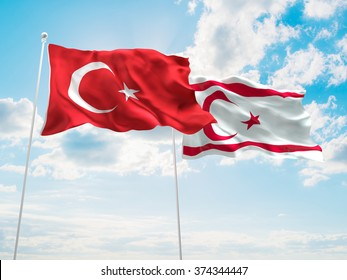 Turkey & Turkish Republic of Northern Cyprus Flags are waving in the sky
