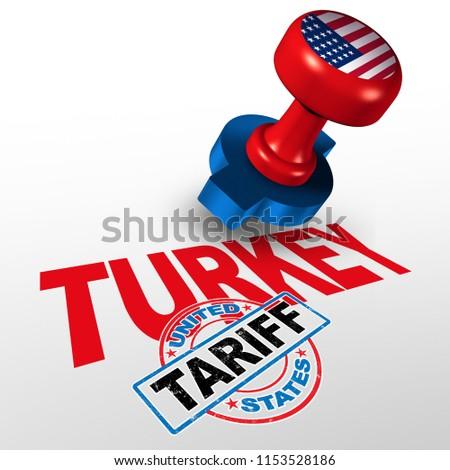 Turkey United States Tariff On Turkish Stock Illustration