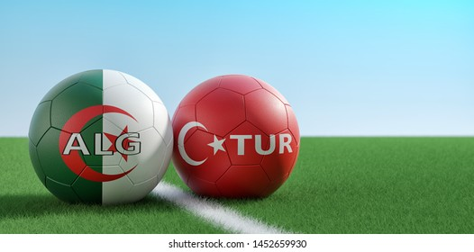 Turkey vs. Algeria Soccer Match - Soccer balls in Turkey and Algerian national colors on a soccer field. Copy space on the right side - 3D Rendering