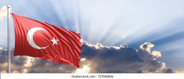 Turkey waving flag on blue sky. 3d illustration