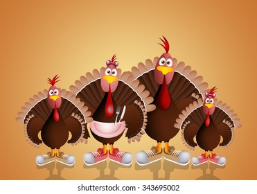 Turkey's family in Thanksgiving Day