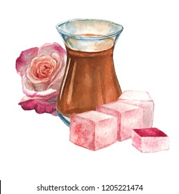 Turkish or arabian tea composition with rose turkish delight lokum and rose flower. Watercolor illustration, isolated.
