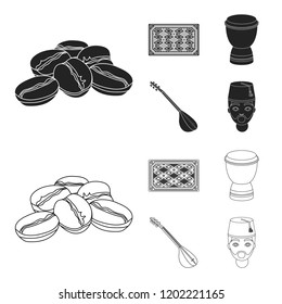 Turkish carpet, saz, drum, turkish men.Turkey set collection icons in black,outline style bitmap symbol stock illustration web.