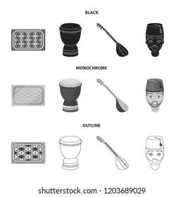 Turkish carpet, saz, drum, turkish men.Turkey set collection icons in black,monochrome,outline style bitmap symbol stock illustration web.