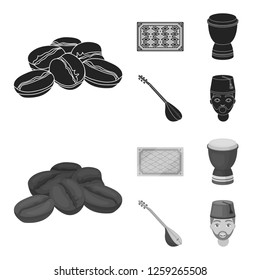 Turkish carpet, saz, drum, turkish men.Turkey set collection icons in black,monochrome style bitmap symbol stock illustration web.
