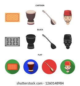 Turkish carpet, saz, drum, turkish men.Turkey set collection icons in cartoon,black,flat style bitmap symbol stock illustration web.