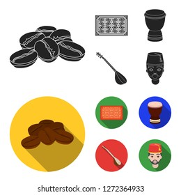 Turkish carpet, saz, drum, turkish men.Turkey set collection icons in black,flat style bitmap symbol stock illustration web.