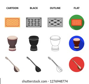 Turkish carpet, saz, drum, turkish men.Turkey set collection icons in cartoon,black,outline,flat style bitmap symbol stock illustration web.