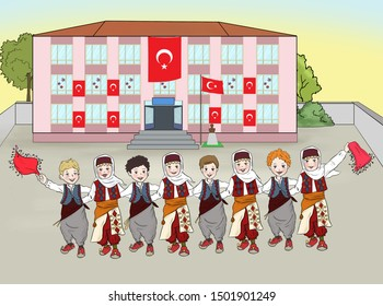 Turkish children are dancing. school show. Turkish April 23 National Sovereignty and Children's Day.April 23 National Sovereignty and Children's Day. Tr: 29 ekim cumhuriyet bayramı
