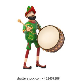 Turkish Culture hacivat playing drum-ramadan drummer 3d illustration