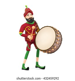 Turkish Culture karagoz playing drum-ramadan drummer 3d illustration