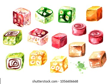 Turkish delight. Colorful Rahat lokum set. Watercolor hand drawn illustration, isolated on white background