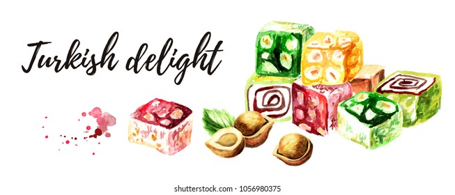 Turkish delight. Colorful Rahat lokum with Hazelnut. Watercolor hand drawn illustration, isolated on white background