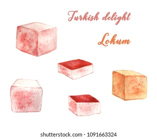 Turkish delight, lokum, dessert with rose and orange water and pieces of lokum.  Isolated.