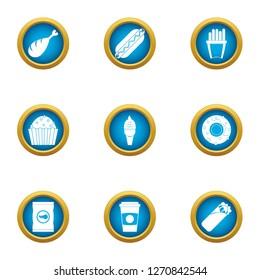 Turkish fastfood icons set. Flat set of 9 turkish fastfood icons for web isolated on white background