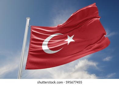 Turkish flag is waving at a beautiful and peaceful sky in day time while sun is shining. 3D Rendering