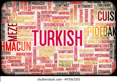 Turkish Food and Cuisine Menu Background with Local Dishes