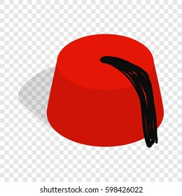 Turkish hat, fez isometric icon 3d on a transparent background  illustration