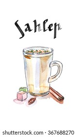 "Turkish hot drink ""Sahlep"", watercolor, hand drawn - Illustration"
