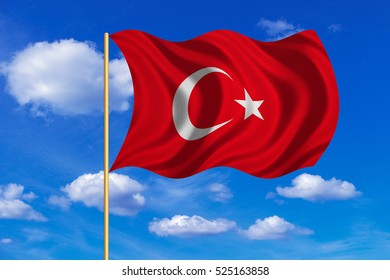 Turkish national official flag. Patriotic symbol, banner, element, background. Correct colors. Flag of Turkey on flagpole waving in the wind, blue sky background. Fabric texture
