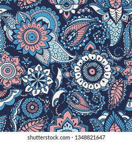 Turkish paisley seamless pattern with buta motifs and Arabic floral mehndi elements on blue background. Colorful decorative illustration for fabric print, wallpaper, wrapping paper, backdrop.