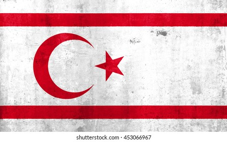 turkish Republic country flag. with grunge wall texture background.