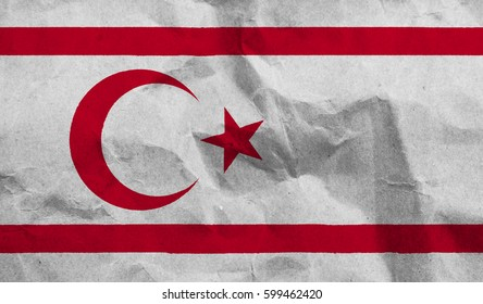 turkish republic of northern cyprus crumpled paper flag