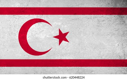 Turkish Republic of Northern Cyprus flag with grunge texture.