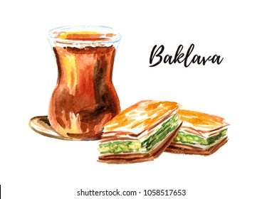 Turkish tea in traditional glass and baklava. Watercolor hand drawn illustration, isolated on white background