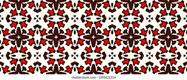 Turkish Tile pattern. Vintage Mirror Pattern. Moroccan Zellige. Grey, White, Red Flowers Geo Tiling. Fractal Fabric Modern Print. Ornate Flooring Rapport. Geo Optical Motif.