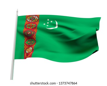 Turkmenistan flag floating in the wind with a White sky background. 3D illustration.