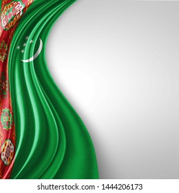 Turkmenistan  flag of silk with copyspace for your text or images and White  background-3D illustration