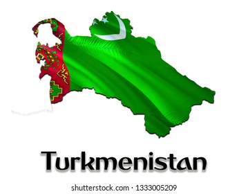 Turkmenistan Map Flag. 3D rendering Turkmenistan map and flag on Asia map. The national symbol of Turkmenistan. Ashgabat flag on Asia background. National Turkmenistan waving flag colorful