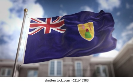 Turks and Caicos Islands Flag 3D Rendering on Blue Sky Building Background