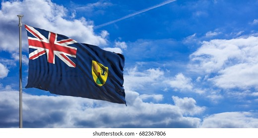 Turks and Caicos Islands waving flag on blue sky background. 3d illustration