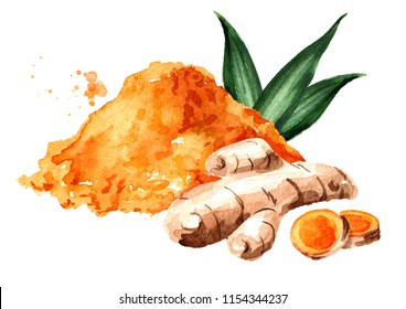 Turmeric root, green leaf and powder. Watercolor hand drawn illustration isolated on white background